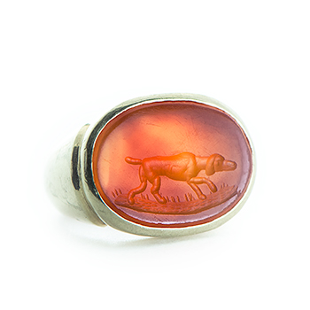 Victorian Seal Ring with Dog